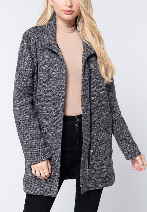 Cute cheap long sleeve high mock neck with pocket jacket knit coat