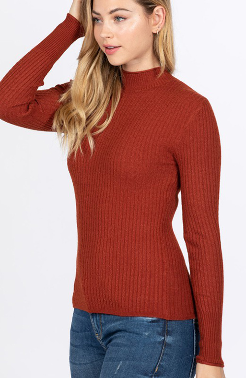 Cute cheap long sleeve mock neck sweater