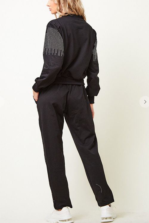 Cute cheap long sleeve zip front jacket and pants set with studst rim all over the jacket and pants