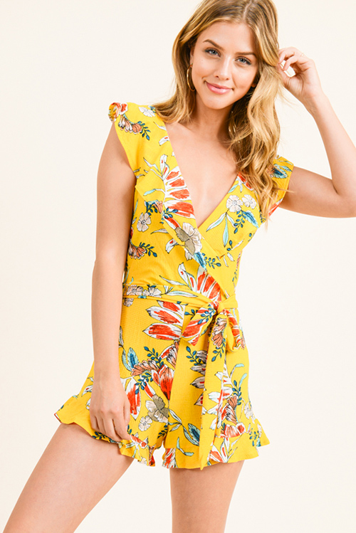 2e335af7f3c Cute cheap Marigold yellow floral print sleeveless ruffled v neck tie waist boho  romper playsuit jumpsuit