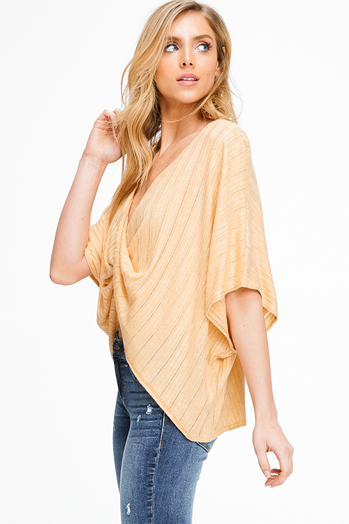 Cute cheap Marigold yellow ribbed knit surplice twist front short dolman sleeve boho top