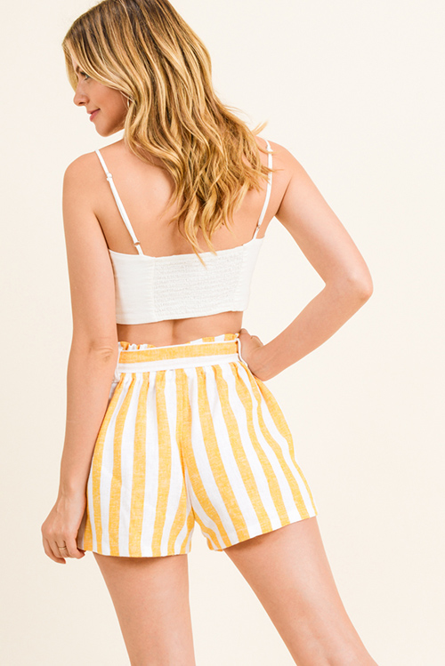 Cute cheap Marigold yellow striped linen belted pocketed resort boho paperbag summer shorts