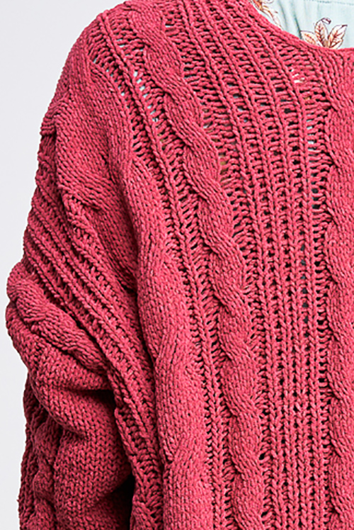 Cute cheap Maroon mauve pink chenille chunky cable knit open front pocketed boho sweater cardigan