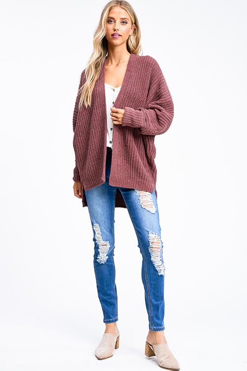 Cute cheap Maroon pink chenille chunky knit long dolman sleeve open front boho cardigan