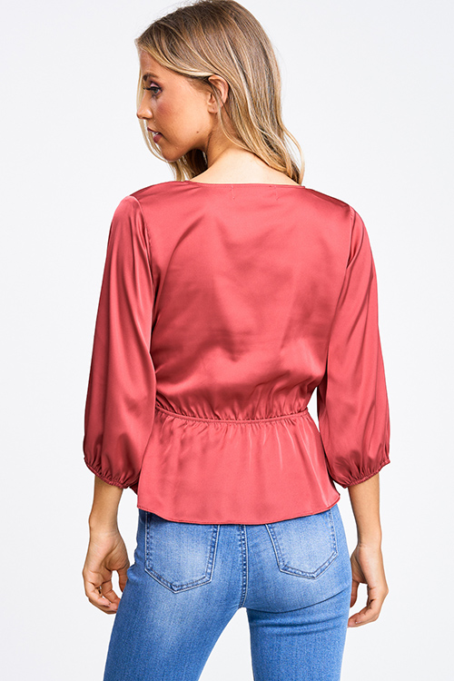 Cute cheap Maroon pink satin quarter sleeve surplice faux wrap party blouse top