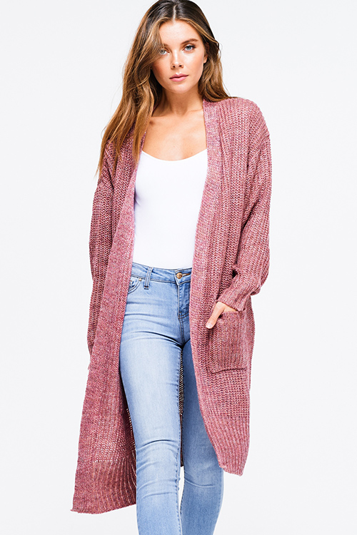 7c7b1a5881e Cute cheap Plus size maroon pink waffle knit long sleeve open front  pocketed boho sweater duster