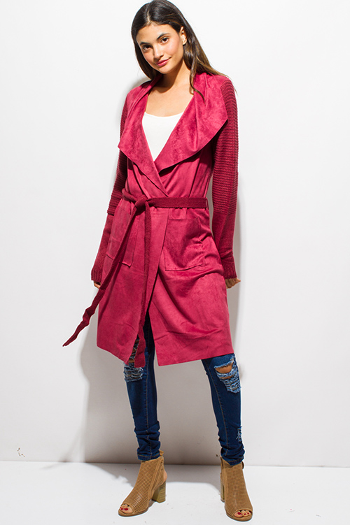 Shop maroon red faux suede sweater knit tie waist duster cardigan ...