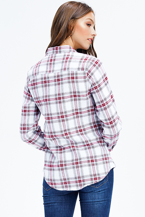 Cute cheap maroon red multicolor plaid long sleeve snap button up flannel blouse top