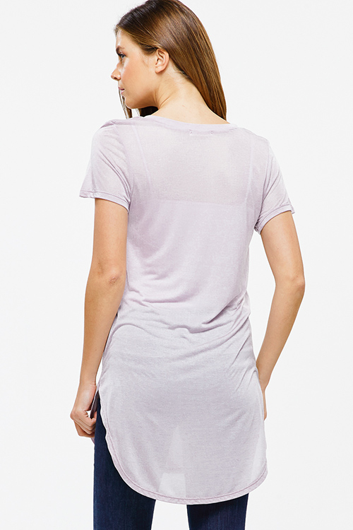 Cute cheap Mauve lavender purple semi sheer deep v neck short sleeve round hem tunic top