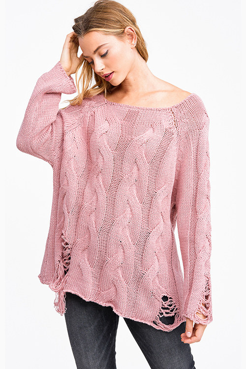 Cute cheap Mauve pink cable knit long sleeve destroyed distressed fringe boho sweater top