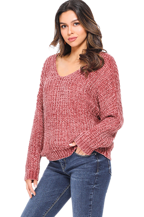 Cute cheap Mauve pink chenille knit off shoulder long sleeve boho sweater top