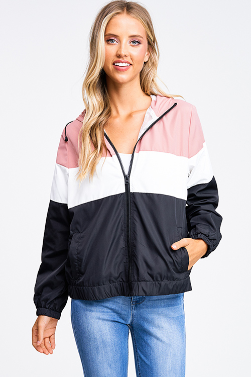 Cute cheap Mauve pink color block zip up mesh lined hooded pocketed windbreaker jacket