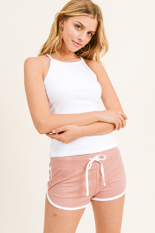 Cute cheap Mauve pink cotton blend elastic drawstring tie waist running lounge shorts