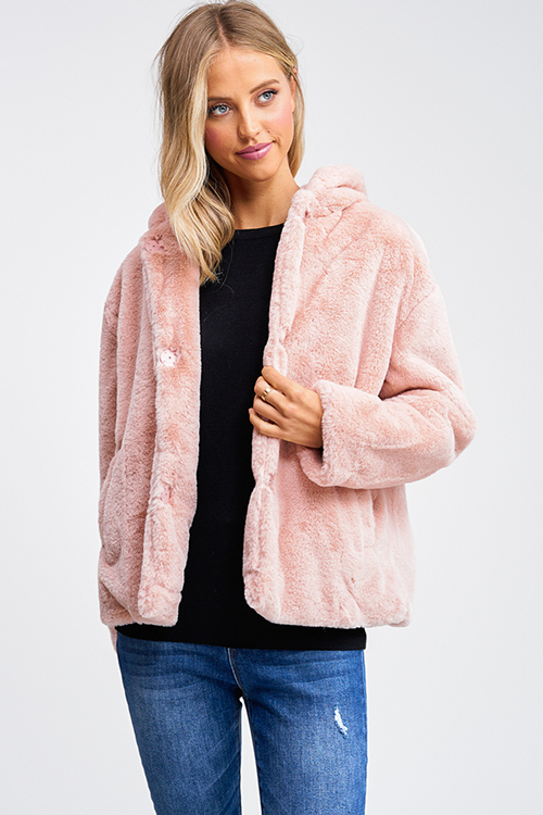 Cute cheap Mauve pink faux fur long sleeve button up pocketed hooded coat jacket