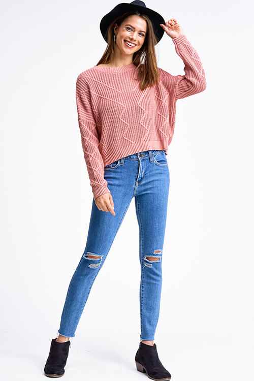 Cute cheap Mauve pink jacquard knit crew neck long sleeve cropped boho sweater top