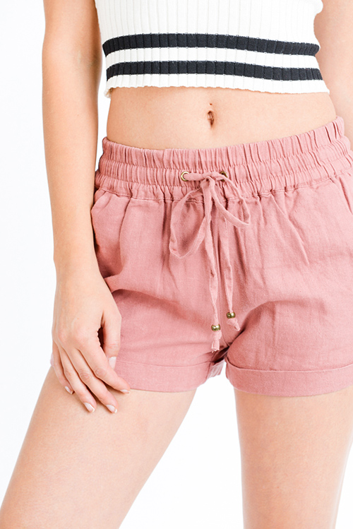 Cute cheap Mauve pink linen mid rise tie waist pocketed boho lounge shorts