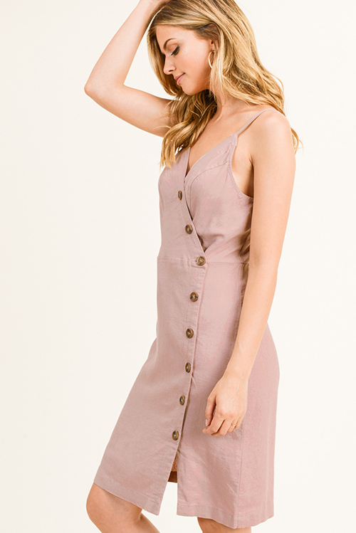 Cute cheap Mauve pink linen sleeveless v neck button down smocked a line boho midi sun dress