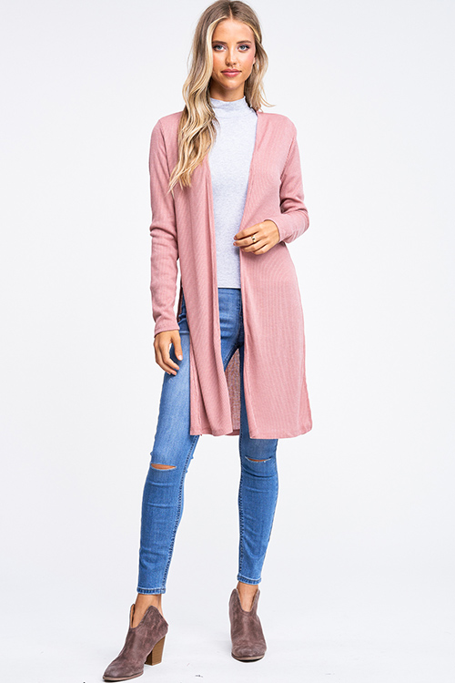 Cute cheap Mauve pink ribbed knit long sleeve slit sides open front boho duster cardigan
