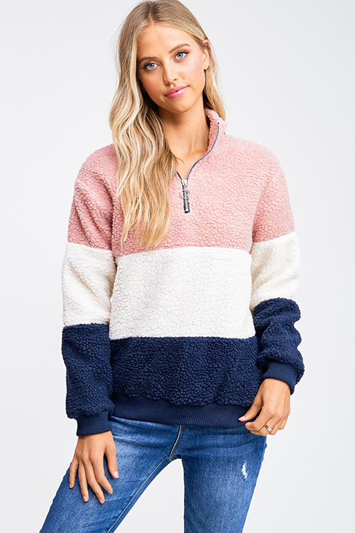 Cute cheap Mauve pink sherpa color block quarter zip lined teddy fleece pullover jacket