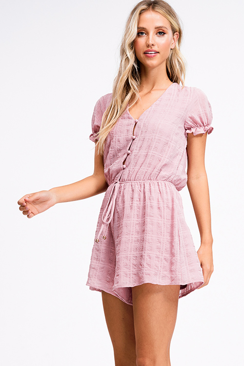 Cute cheap Mauve pink short sleeve button up tie waist boho romper playsuit jumpsuit