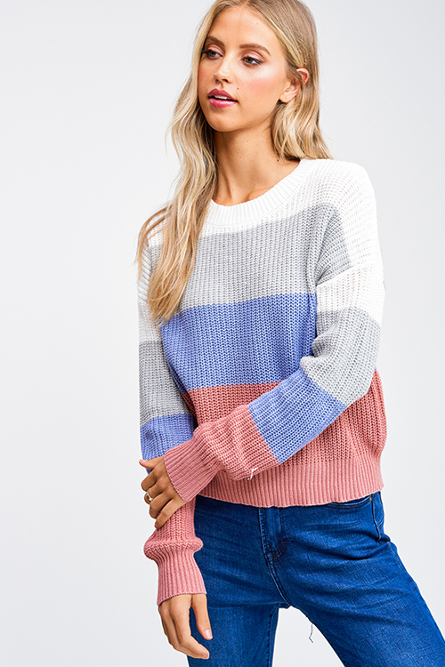 Cute cheap Mauve pink sky blue color block long sleeve boho cropped sweater top