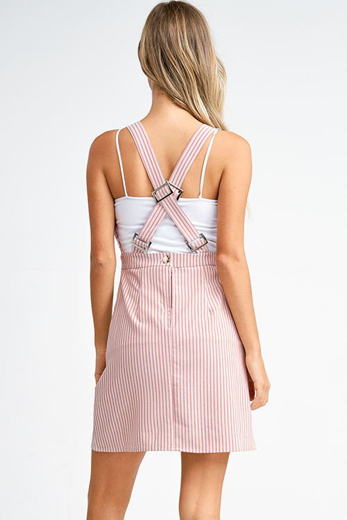 Cute cheap Mauve pink striped a line pocketed crossed back boho overall mini dress