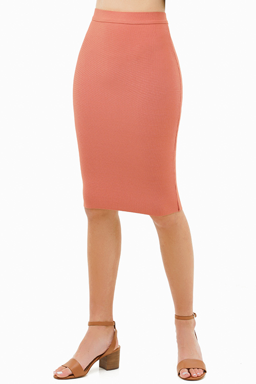 Cute cheap Mauve pink sweater knit high waisted bodycon fitted zip up pencil midi skirt