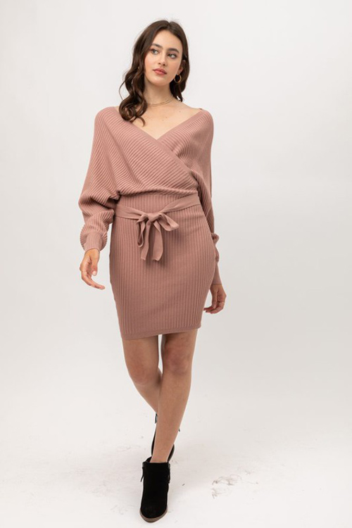 Cute cheap mauve ribbed knit long dolman sleeve surplice faux wrap belted sweater mini dress