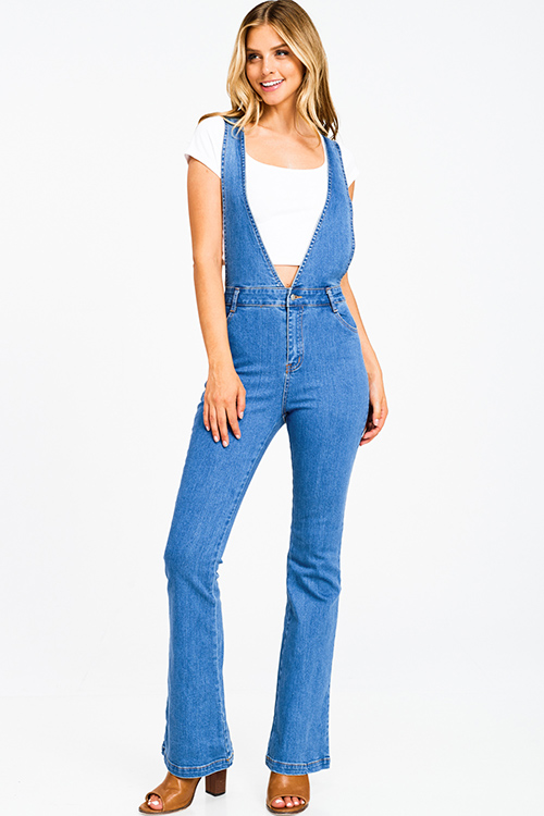 Cute cheap Medium blue denim a line high waisted fitted pocketed boho flare overalls jumpsuit
