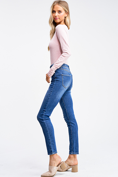 Cute cheap Medium blue washed denim high waisted button up fitted skinny jeans