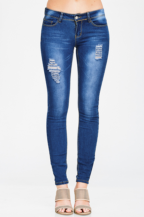Cute cheap medium blue washed denim mid rise distressed fitted skinny jeans