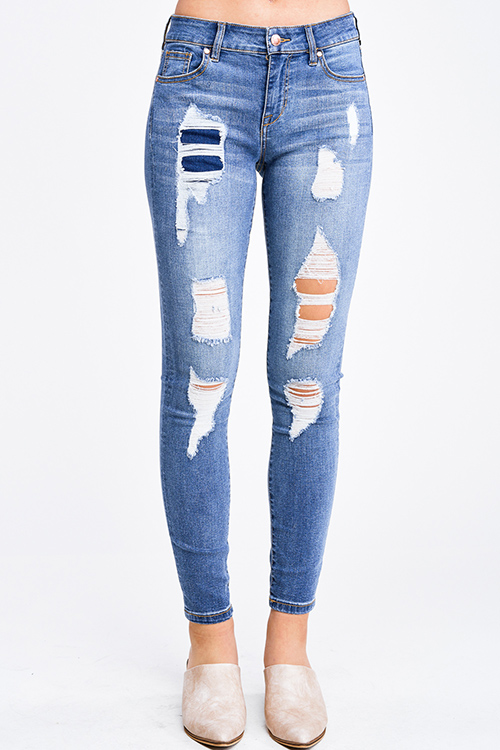 Cute cheap Medium blue washed denim mid rise distressed patched fitted skinny jeans