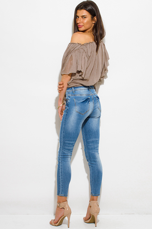 Cute cheap medium blue washed denim mid rise distressed skinny fit ankle jeans