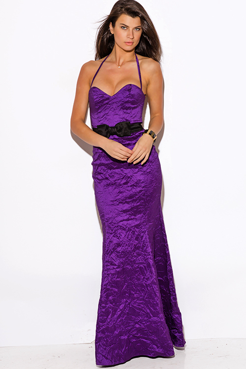 Cute cheap purple bow tie sweetheart satin formal gown evening party dress
