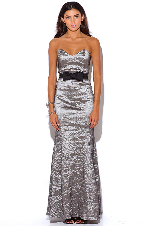 Cute cheap bow tie gray crinkled formal strapless evening party dress