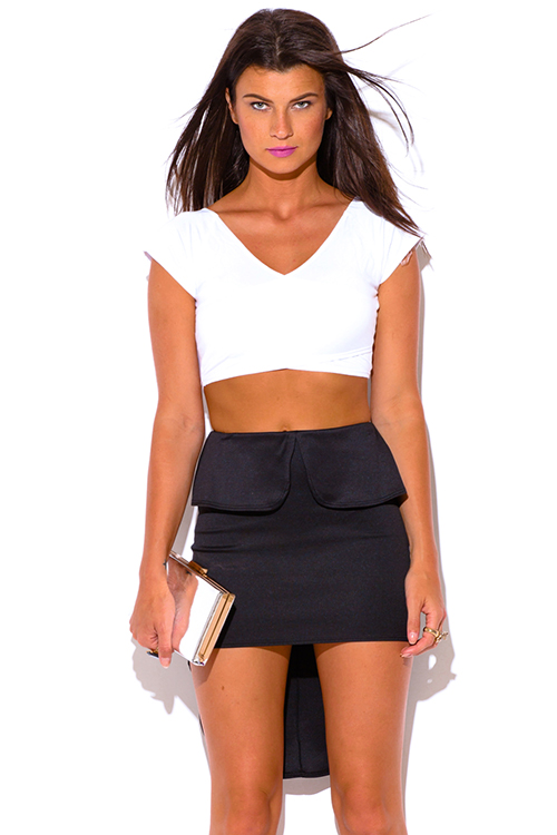 Cute cheap black peplum high low fitted pencil skirt