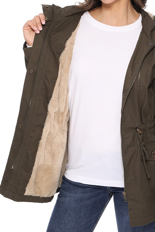Cute cheap miltary hooded jacket with fur insise