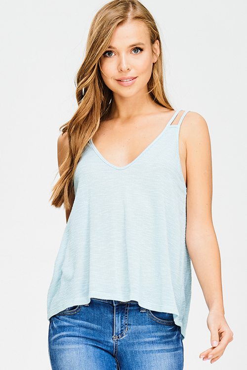 Cute cheap mint blue v neck ribbed knit double spaghetti strap cut out boho tank top