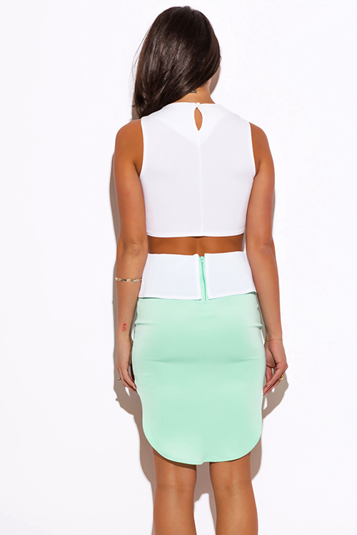 Cute cheap mint green color block high low peplum scuba pencil mini skirt