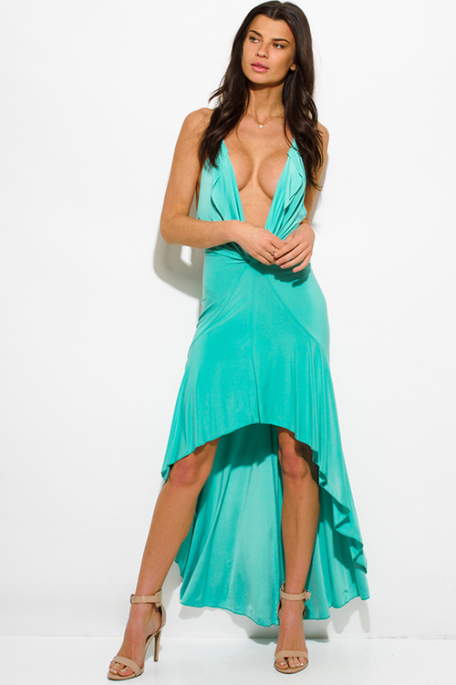 Cute cheap mint green deep v neck halter tie backless high low hem formal gown evening party dress