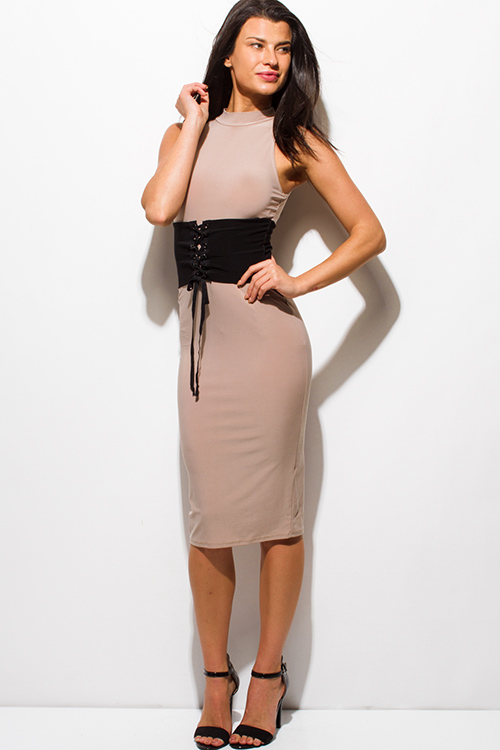 Cute cheap mocha beige mock neck sleeveless corset back slit bodycon fitted club midi dress