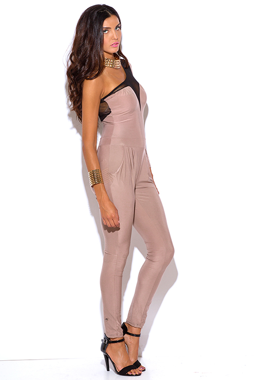 Cute cheap nude beige mesh inset one shoulder evening party fitted harem clubbing catsuit jumpsuit