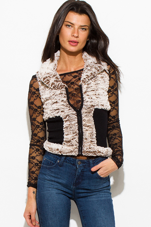 Cute cheap mocha brown black color block zip up faux fur banded fitted clubbing vest