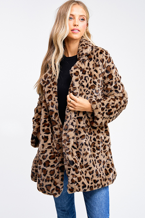 Cute cheap Mocha brown cheetah animal print pocketed open front faux fur coat