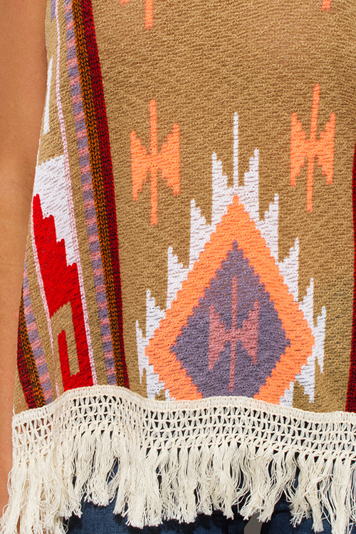 Cute cheap mocha light brown multicolor ethnic print fringe trim boho tank top