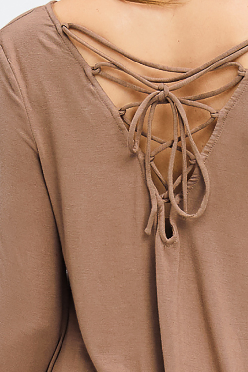 Cute cheap mocha tan brown long bell sleeve laceup caged back boho top