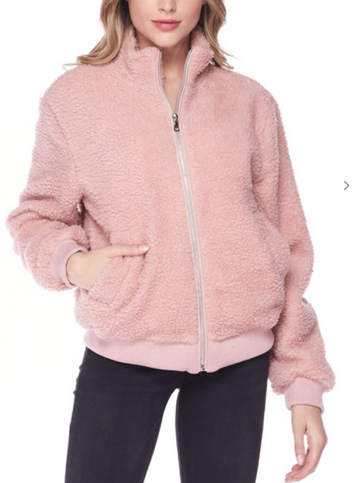 Cute cheap mock neck zip-up bomber jacket