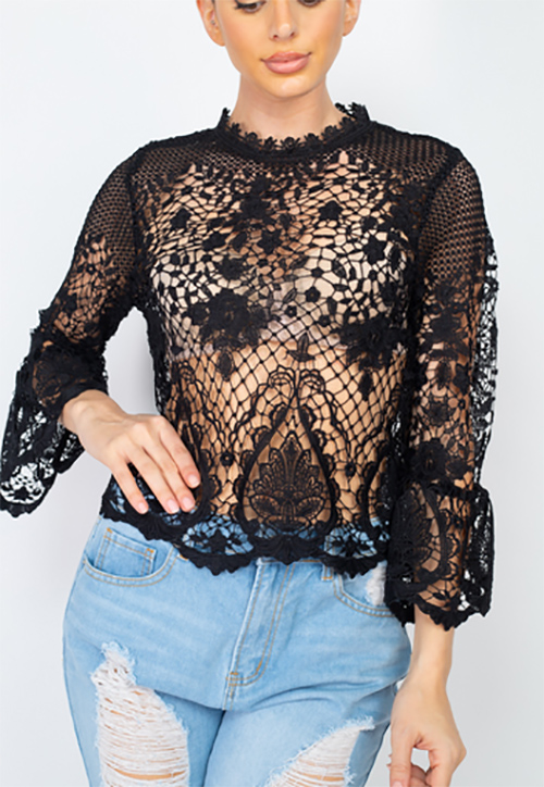 Cute cheap mock sheer floral lace top