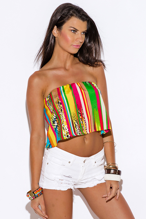 Cute cheap multi color anima animal print strapless backless crepe tube crop top