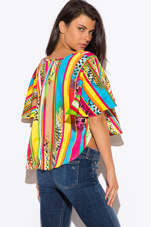 Cute cheap multi color animal print chiffon flutter sleeve laceup boho crop top